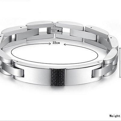 Black men's titanium steel bracelet..