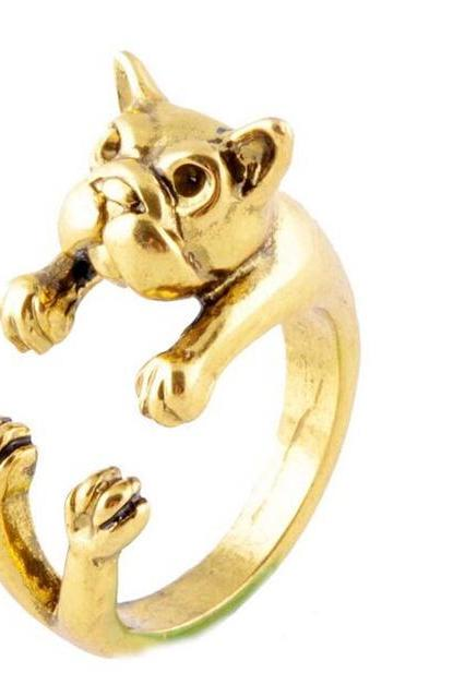 Animal Gujinhaba dog wrapped ring
