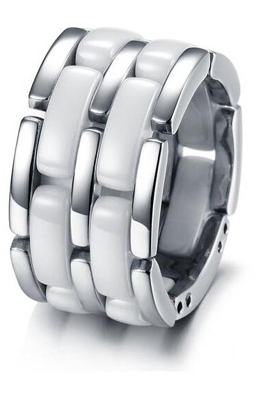 Fashion white titanium steel between the ceramic ring WJ221