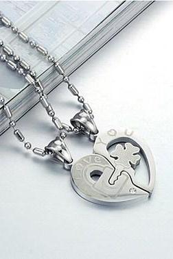 Key Rhinestone titanium steel couple necklace GX553