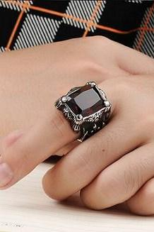 Retro inlaid ruby ring ring men titanium steel ring GJ430