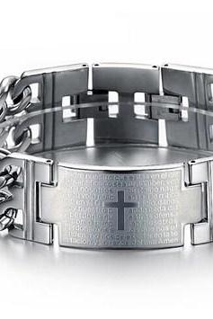 Titanium steel Bible cross bracelet GS620