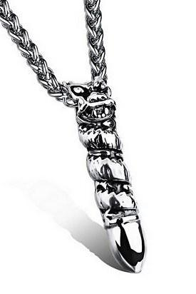 Lion's Head titanium steel dragon pendant necklace retro men GX978
