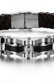 Men's leather bracelet titanium steel PH804