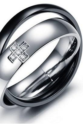 Rhinestone titanium steel men's rings GJ186