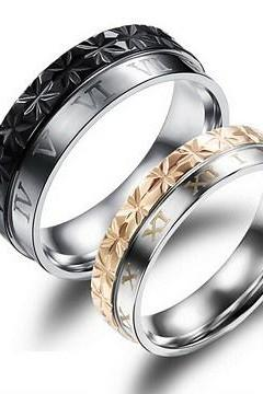 Diamond titanium steel couple rings GJ456